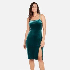 Express-Velvet Front Slit Sheath Dress